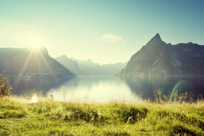 Quadro Pôr do sol em Lofoten ilhas, Noruega