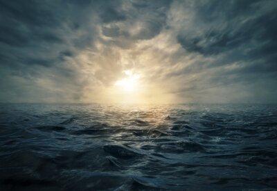 Quadro Por do sol no mar tormentoso