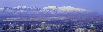 Quadro Por do sol panorâmico de Salt Lake City com neve tampou montanhas Wasatch