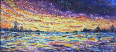 Quadro Pôr do sol sobre o lago, pintura a óleo
