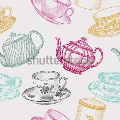 Quadro porcelana de chá vintage. padrão sem emenda