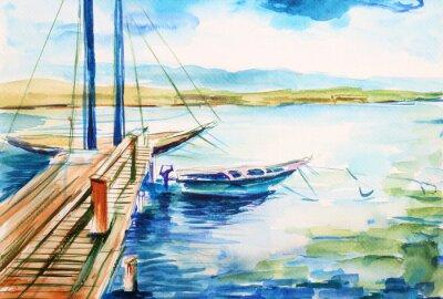Quadro Port nad jeziorem genevskim - ilustracja ręcznie malowana