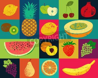 Quadro Poster do fruto do estilo do grunge do pop art. Coleção de frutas retro. Conjunto do vetor do vintage de frutas.
