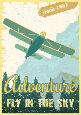 Quadro Poster retro do biplano