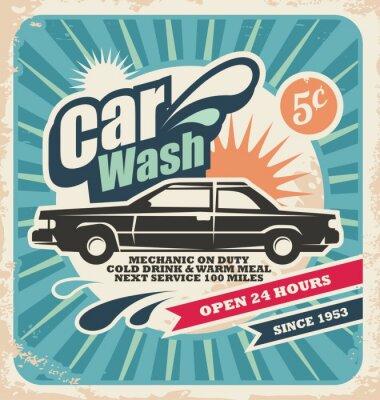 Quadro Poster retro lavagem de carro