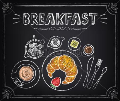 Quadro Poster vintage. Café da manhã. Croissant e café. Conjunto na lousa para design em estilo retro