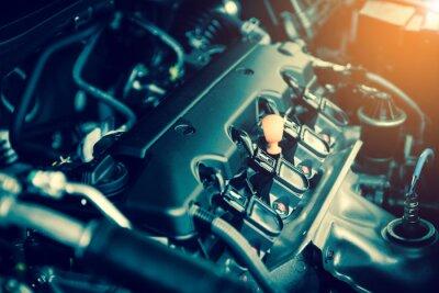 Quadro Potente motor de um carro. Projeto interno do motor com combustão e válvula no tom escuro