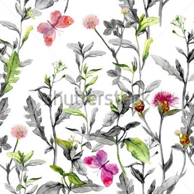 Quadro Prado flores, grama, ervas. Fundo erval sem alteração nos núcleos preto e branco para o projeto de forma. Aquarela
