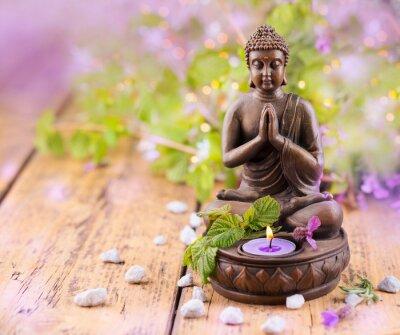 Quadro Praying Buddha com vela e alfazema