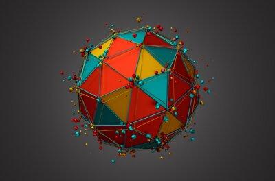 Quadro Prestação de Esfera com Wireframe e Partículas.