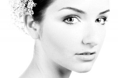 Quadro Preto e branco close-up de uma bela mulher