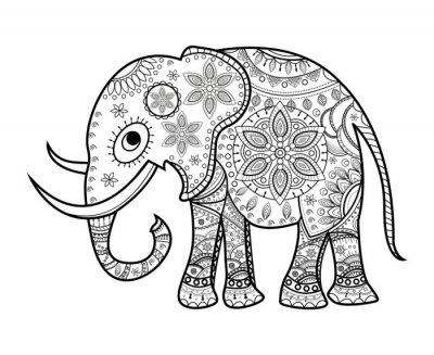 Quadro Preto e branco decorados elefante em branco, elefante decorado vetorial da cor, su sfondo bianco