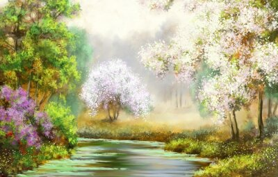 Quadro Primavera, árvore, rio, pinturas paisagem