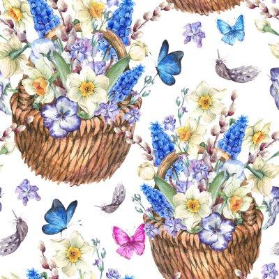 Quadro Primavera padrão sem emenda com narcisos em vime