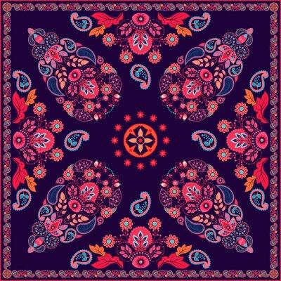 Quadro Projeto quadrado floral de Paisley do vetor