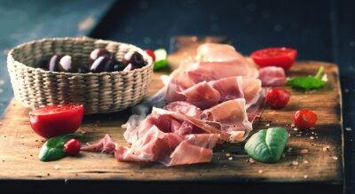 Quadro Prosciutto, pão, madeira, tábua, azeitonas