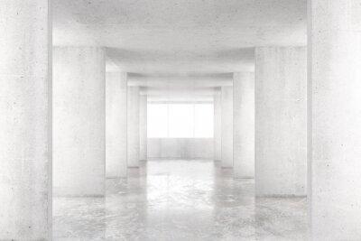 Quadro Quarto vazio com paredes de concreto, piso de concreto e grande janela, 3