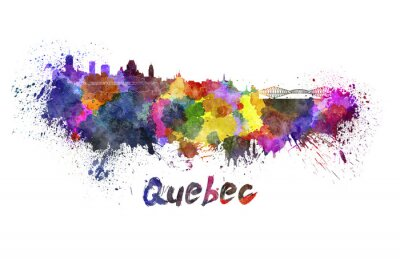 Quadro Quebec horizonte em aquarela