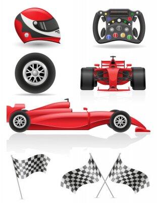 Quadro racing set ícones ilustração vetorial, EPS, 10