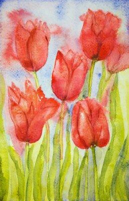 Quadro Ramalhete das tulipas em um campo. A técnica dabbing perto das bordas dá um efeito de foco suave devido à rugosidade da superfície alterada do papel.