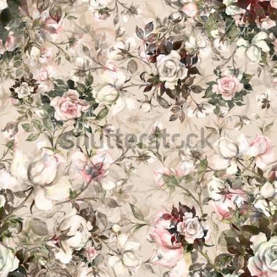 Quadro Ramalhete sem emenda do teste padrão da aquarela das rosas no botão Teste padrão bonito de Y. para a decoração e o projeto. Impressão na moda. Requintado padrão de desenhos de aquarela da flor. Em ton