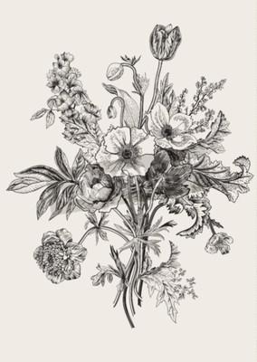 Quadro Ramo do Victorian. Flores da primavera. Papoila, anêmonas, tulipas, delphinium. Ilustração botânica do vintage. Elemento de design. Preto e branco. Gravação
