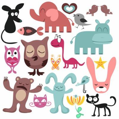 Quadro Random conjunto de vários animais engraçados