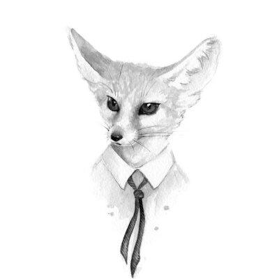 Quadro Raposa. Ilustração em preto e branco da aguarela