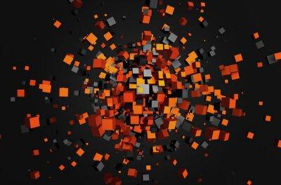 Quadro Rendição 3d abstrata de cubos voadores.