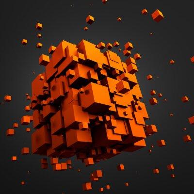 Quadro Rendição 3D abstrata of Flying Cubes.