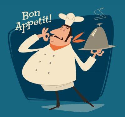 Quadro Restaurante Chef, ilustração retro