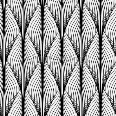 Quadro Resumo padrão geométrico com linhas onduladas. Plano de fundo sem alteração Ornamento monocromático. Versão rasterizada
