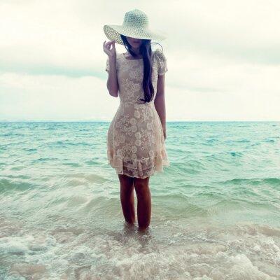 Quadro Retrato da forma de uma menina no mar