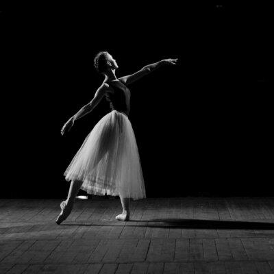 Quadro retrato da jovem bailarina bonita