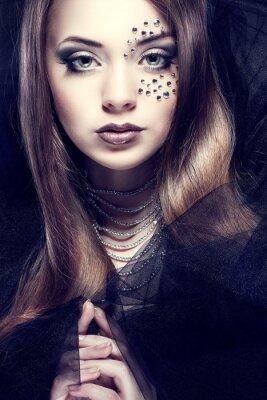 Quadro Retrato da menina bonita sexual com strasses no rosto,
