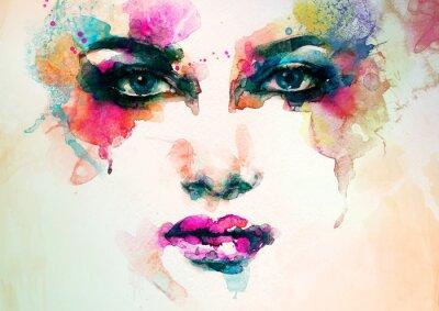Quadro retrato da mulher. aquarela abstrata. fundo moda