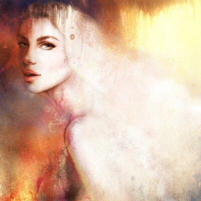 Quadro Retrato da mulher bonita. Pintado à mão ilustração da moda