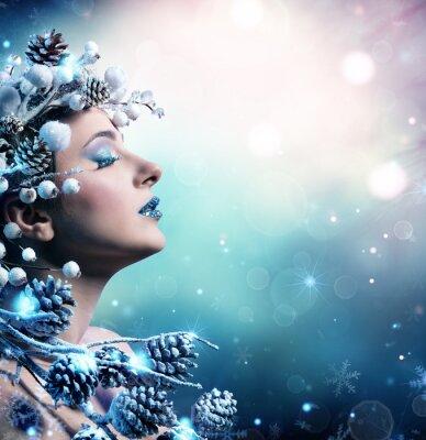 Quadro Retrato da mulher do inverno - modelo de forma da beleza Menina Com Decoração Nevado
