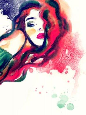 Quadro Retrato da mulher, fundo abstrato da aguarela .fashion