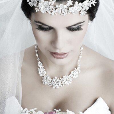Quadro Retrato da noiva bonita. Vestido de casamento. Decoração do casamento