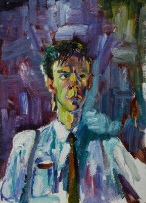 Quadro Retrato da pintura a óleo com retrato masculino em cores brilhantes na lona