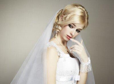 Quadro Retrato de casamento da noiva nova bonita