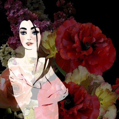 Quadro Retrato de morena bonita no fundo floral