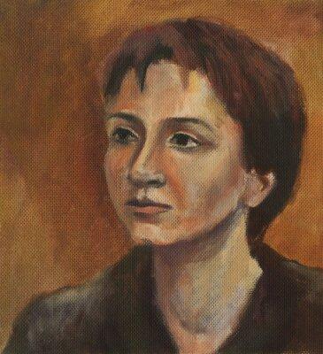 Quadro Retrato de uma mulher nova. Pintura a óleo