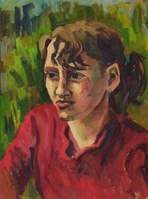 Quadro Retrato de uma rapariga. Pintura a óleo