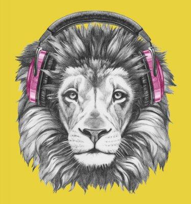 Quadro Retrato do leão com auscultadores. Ilustração desenhada mão.