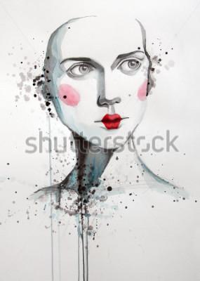 Quadro retrato em aquarela de mulher bonita | artesanal | carro fabricado | pintura