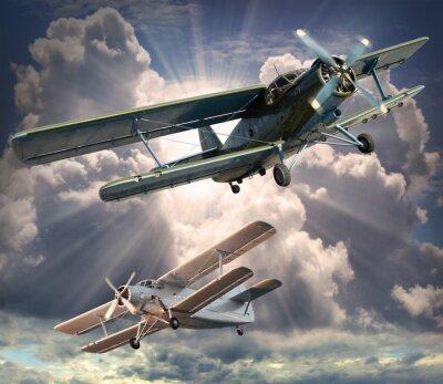 Quadro Retrato retro do estilo dos biplanos. Tema Transporte.