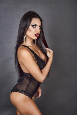 Quadro Retrato, sensual, morena, mulher, posar, pretas, linger