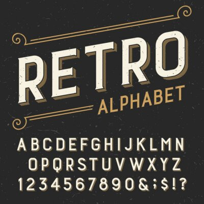 Quadro Retro alphabet vector font. Serif type letters, numbers and symbols. on a dark distressed scratched background. Stock vector typography for labels, headlines, posters etc.